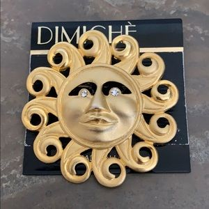 NWT DIMICHE Golden Sun With Crystals Eyes Brooch